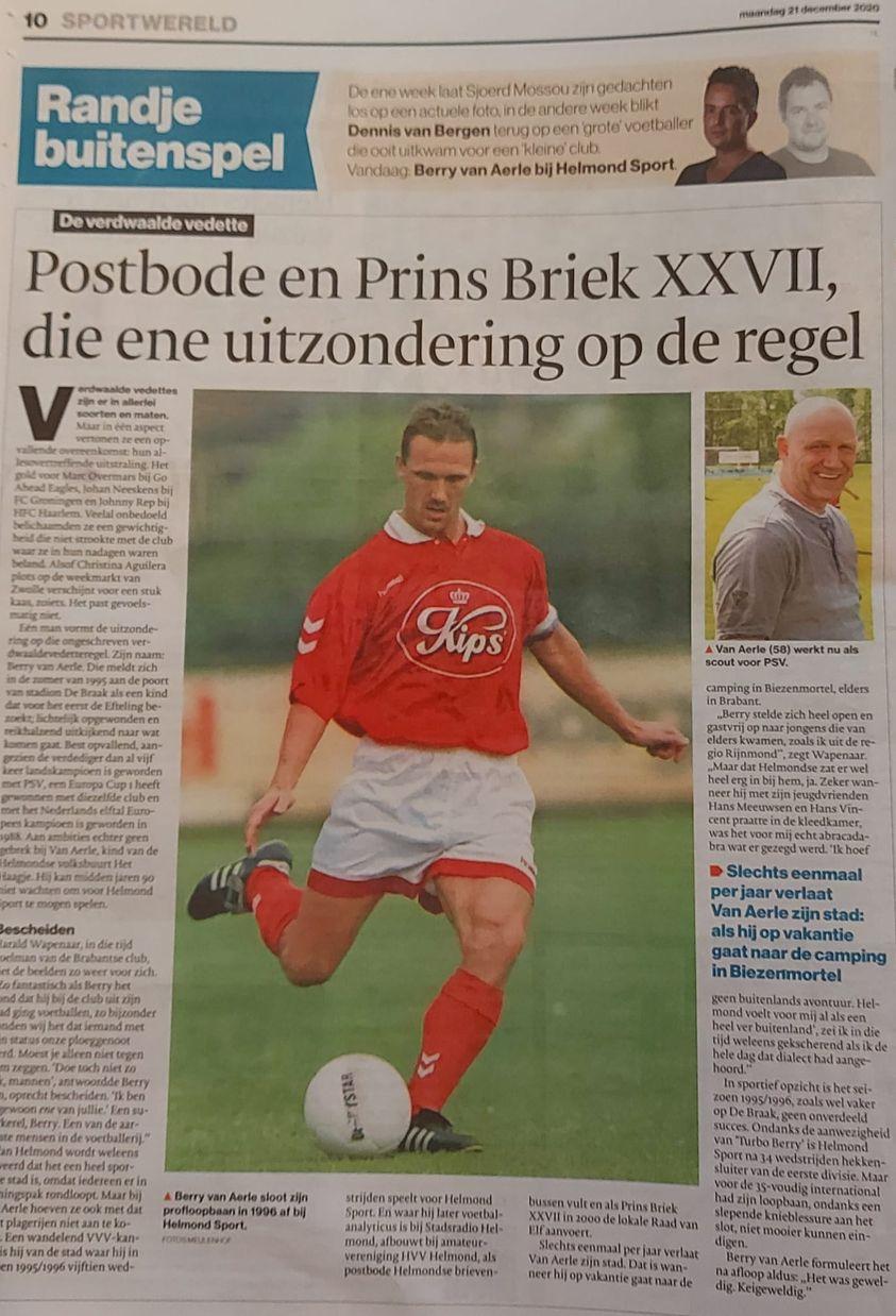 AD noemt Van Aerle aardigste speler betaalde voetbal