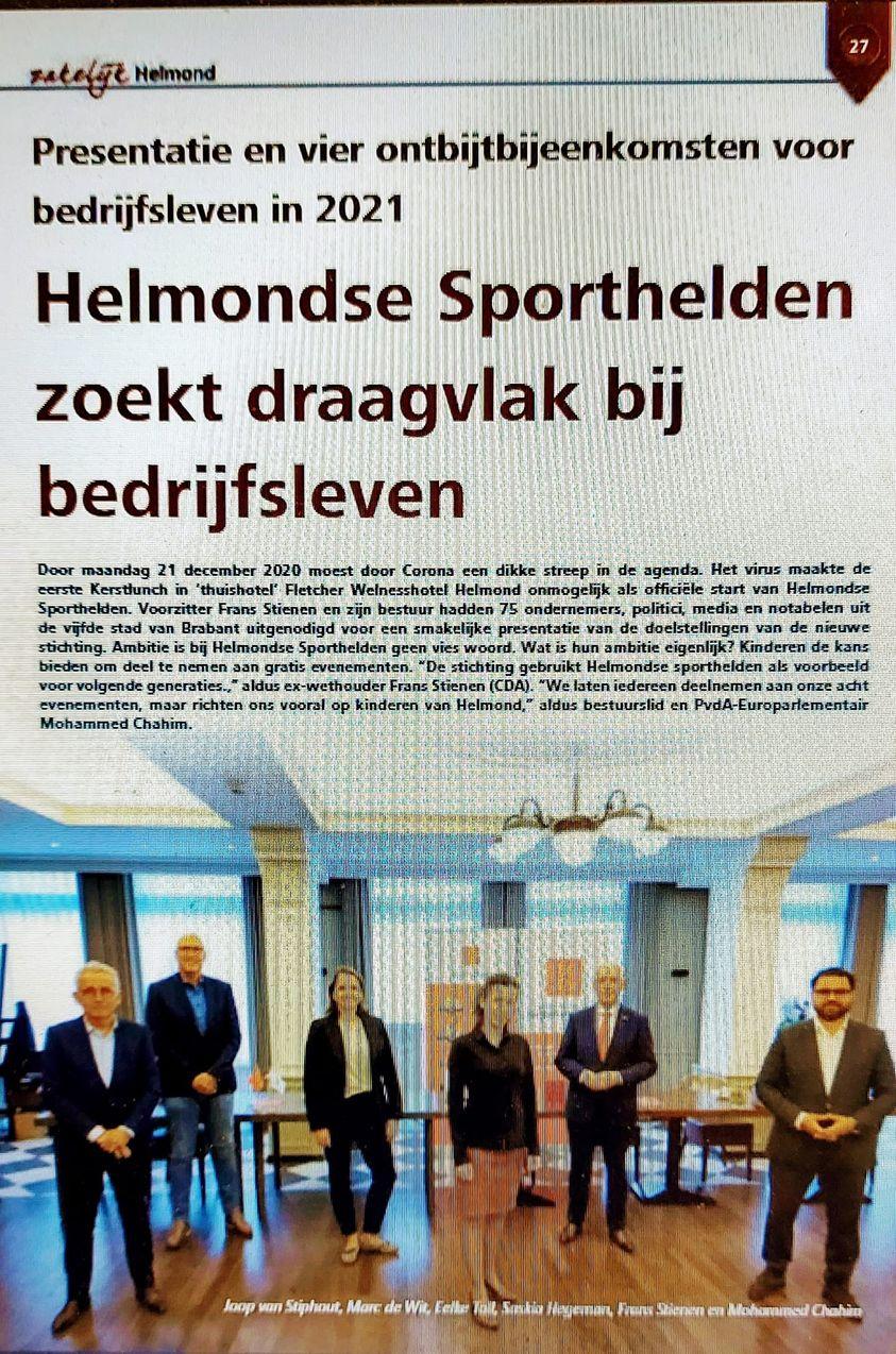 Helmondse Sporthelden ook in magazine Zakelijk Helmond