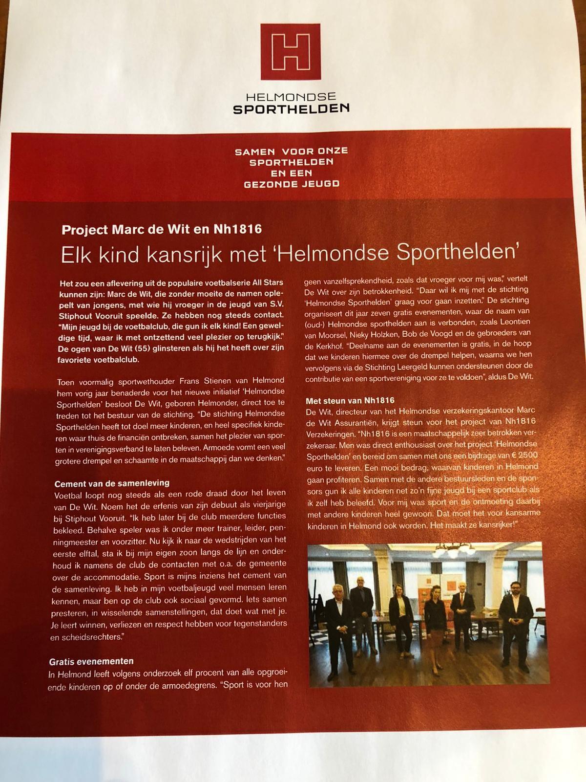 Helmondse Sporthelden in magazine NH1816 verzekeringen
