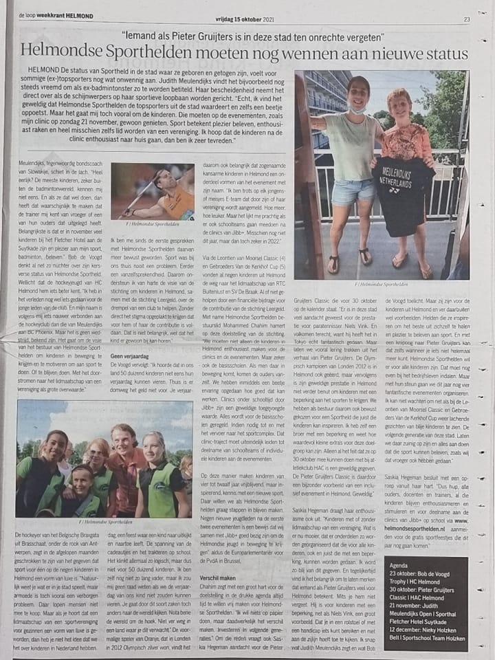Bob de Voogd Trophy ook in weekblad De Loop